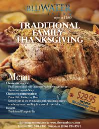 bluwater bistro serving up traditional thanksgiving dinner green