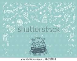happy birthday doodle set download free vector art stock
