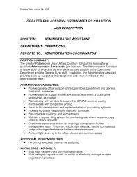 Crew Member Job Description Resume by Office Assistant Job Description Resume Resume Template Free
