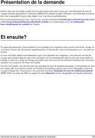 bureau des visas canada immigration canada demande de titre de voyage résident permanent à