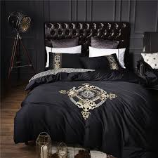 Bed Sets Black 4pcs 100 Cotton Black White Silver Luxury Bedding Sets Bedclothes