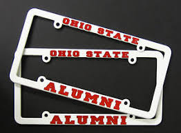 ohio alumni license plate frame set of 2 ohio state alumni license plate frame white plastic