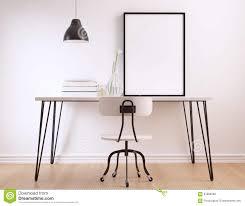 Minimalist Workspace Blank Poster Frame On Modern Minimalist Interior Workspace Stock