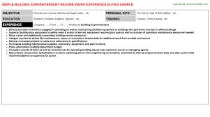 building superintendent resume sample