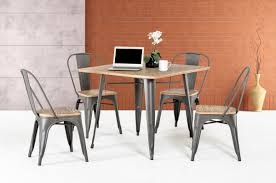 14005 modern grey metal and wood square dining table
