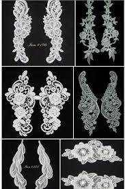 10pc new design golden blue lace wedding dress applique diy bridal