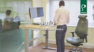Sit Stand Adjustable Desk by Deskrite Sit Stand Height Adjustable Desks Youtube