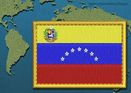 Flag Venezuela Venezuela With Crest Rectangle Flag Embroidery Design With A