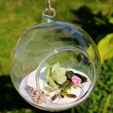 small ball globe shape clear transparent hanging glass vase flower