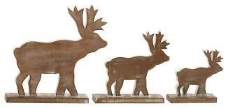 wood reindeer figurines 3 set rustic accents