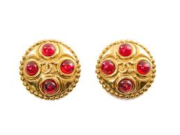 gold clip on earrings authentic chanel gold ruby pate de verre clip earrings connect