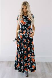 floral maxi bridesmaid dress black bouquet fall floral maxi modest dress best and affordable