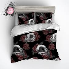 gothic maroon peonies and bird skulls duvet bedding sets ink and