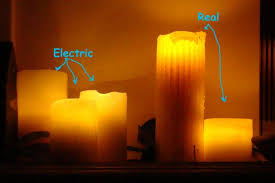 realistic electric flickering pillar candles