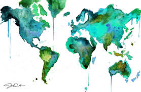 Bahamas World Map Watercolor World Map No 6