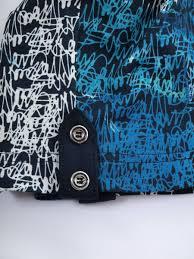 Blau Schwarz Muster Damen Mit Muster Gro罅e Gr羝罅en Blau Schwarz