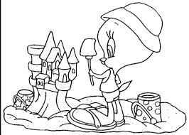 Tweety And Sand Castle Coloring Page Free Printable Coloring Pages Sandcastle Coloring Page