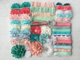 coral and mint headband kit 30 00 bowtique emilee diy
