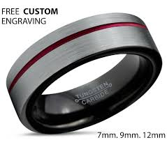 black male rings images Tungsten ring mens brushed silver black red wedding band tungsten jpg