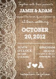 lace u0026 burlap rustic invitation wedding invite or save the date