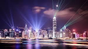 Lights Hong Kong City Skyline Citynight Light Beams Wallpaper