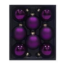 shop living 8 pack purple ornament set at lowes