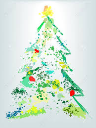 a christmas tree splatter shape of paint drops as decoration