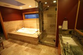 Travertine Tile Bathroom by Master Bathroom With Travertine Tile And Exotic Granite Counter