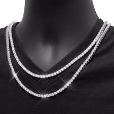 mens white gold necklace ebay