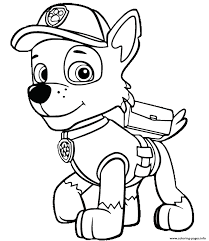 paw patrol rocky is happy coloring pages printable