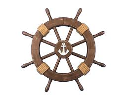 buy rustic wood finish decorative ship wheel with anchor 18 inch