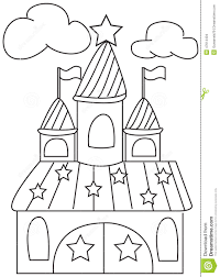 hand drawn coloring page of a star castle stock illustration