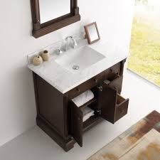 Antique Vanity With Mirror 37 Inch Antique Coffee Bathroom Vanity With Mirror Carrera Countertop