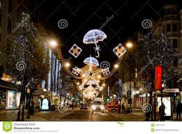 christmas decorations oxford street editorial photography image