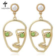 human earrings 2018 new fashion simple abstract earrings for women human