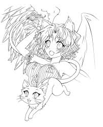 anime demon angel coloring pages cartoon download cartoon free