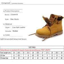 ccharmix men work boots square toe leather mens ankle boot autumn