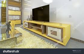 bright yellow tv unit modern living stock illustration 505153447