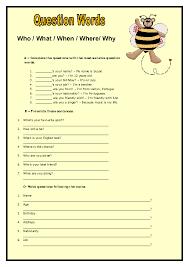 question words elementary worksheet ii