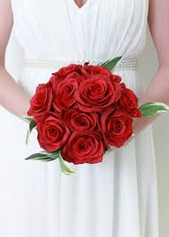 Red Rose Bouquet Silk Wedding Bouquets Silk Wedding Flowers Artificial Bouquets