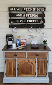 repurposed buffet into a coffee bar buffet coffee and bar