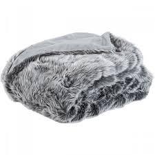 Fake Fur Throws Chamonix Faux Fur Throw Grey Brissi