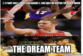 Brian Scalabrine Memes - 3 point god 2 brian scalabrine 3 luke walton keeping the bench warm