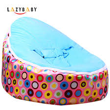 lazybaby medium pink circle baby bean bag chair kids bed for