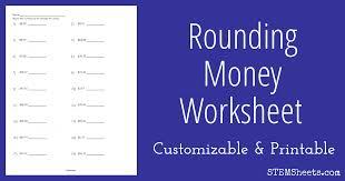 rounding money worksheet stem sheets