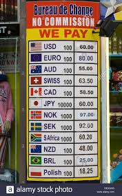bureau de change exchange currency board stock photo royalty free