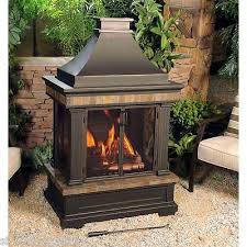 Outdoor Fireplace Chiminea Outdoor Fireplace Wood Burning Chimney Tiled Patio Deck Heater