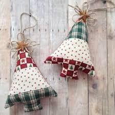 homespun fabric ornaments and white plaid