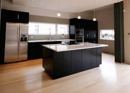 matte black wooden kitchen island counter smooth wooden floorboard