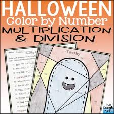 halloween multiplication color by number teaching resources